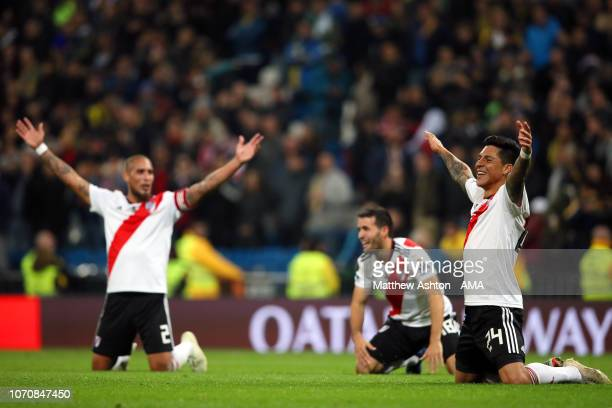 Enzo Perez of River Plate and his teammates celebrate at the end of the second leg of the final match of Copa CONMEBOL Libertadores 2018 between Boca...
