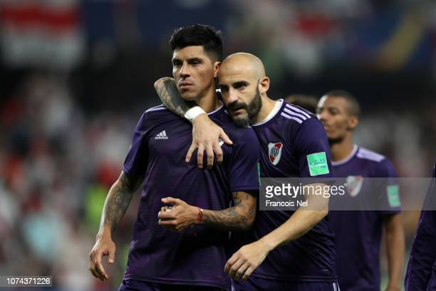 Enzo Perez of River Plate and Javier Pinola of River Plate look dejected following their team's defeat in the the FIFA Club World Cup UAE 2018 Semi...