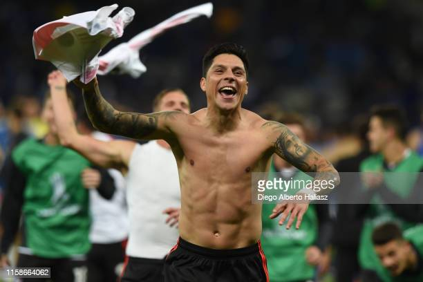 Enzo Perez of River Plate celebrates after a round of sixteen second leg match between Cruzeiro and River Plate as part of Copa CONMEBOL Libertadores...