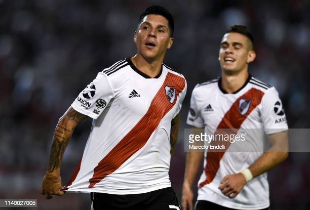 Enzo Perez of River Plate celebrates after scoring the first goal of his team during a first leg round of sixteen match between Aldosivi and River...