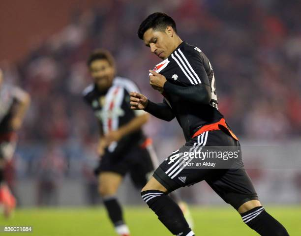 Enzo Perez of River Plate celebrates after scoring the second goal of his team during a match between River Plate and Instituto as part of round 16...