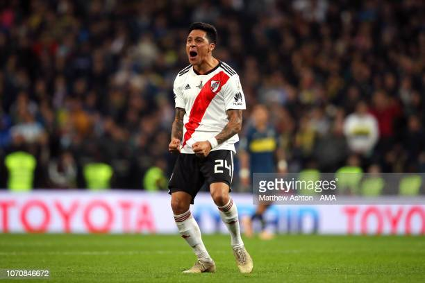Enzo Perez of River Plate celebrates after teammate Juan Quintero scored a goal to make the score 21 during the second leg of the final match of Copa...
