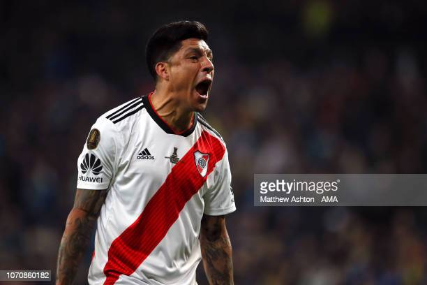 Enzo Perez of River Plate celebrates at the end of the second leg of the final match of Copa CONMEBOL Libertadores 2018 between Boca Juniors and...