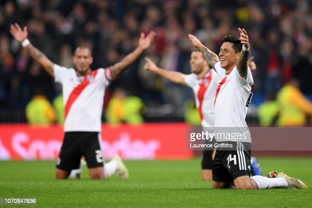 Enzo Perez of River Plate celebrates following his sides victory in the second leg of the final match of Copa CONMEBOL Libertadores 2018 between Boca...