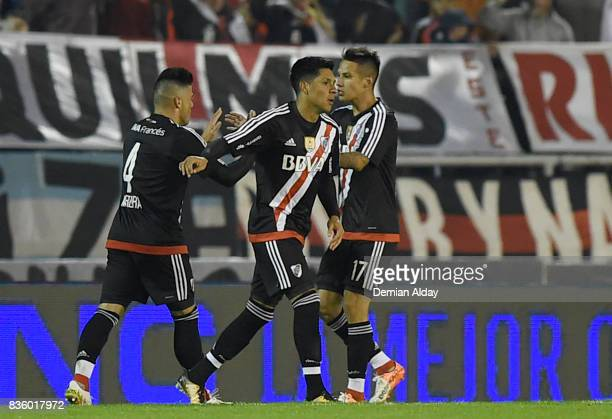 Enzo Perez of River Plate celebrates with teammates after scoring the second goal of his team during a match between River Plate and Instituto as...