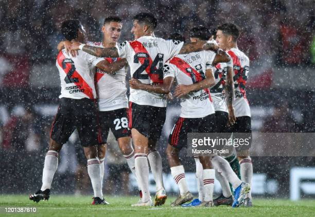 Enzo Perez of River Plate celebrates with teammates after winning a match between River Plate and Banfield as part of Superliga 2019/20 at Antonio...
