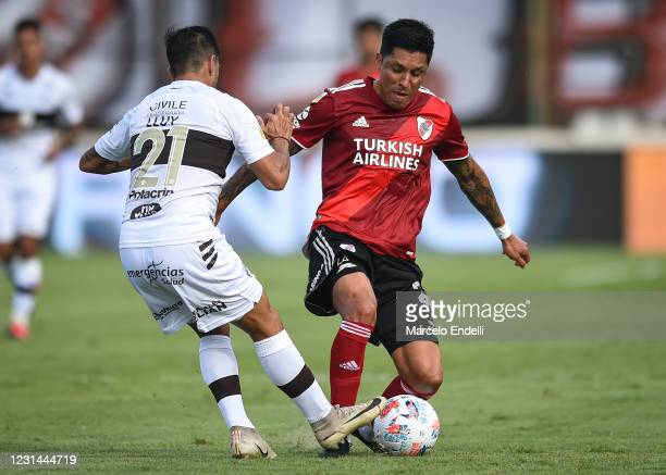 Enzo Perez of River Plate fights for the ball with Braian Lluy of Platense during a match between Platense and River Plate as part of Copa De La Liga...