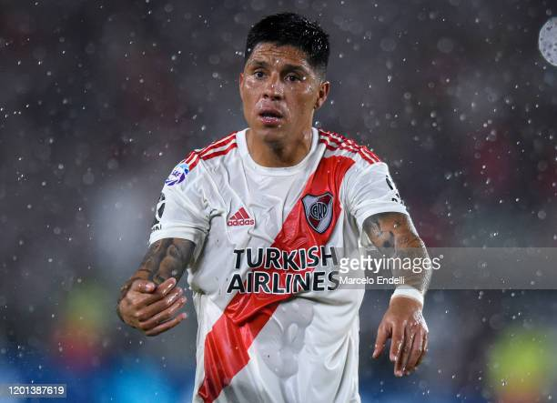 Enzo Perez of River Plate gestures during a match between River Plate and Banfield as part of Superliga 2019/20 at Antonio Vespucio Liberti Stadium...