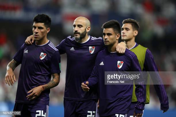 Enzo Perez of River Plate Javier Pinola of River Plate and their team mates look dejected following their team's defeat in the FIFA Club World Cup...