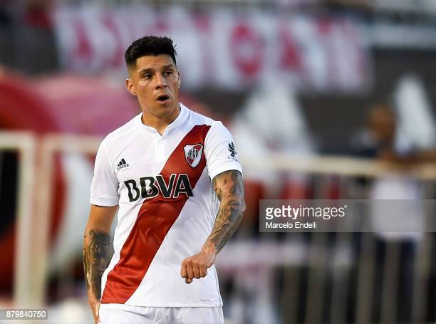 Enzo Perez of River Plate leaves the field after being injured during a match between River and Newell's Old Boys as part of Superliga 2017/18 at...