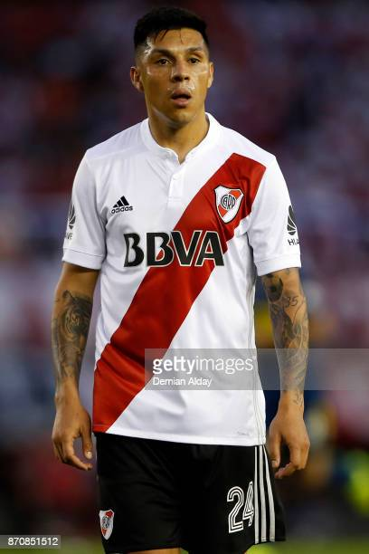 Enzo Perez of River Plate looks on during a match between River Plate and Boca Juniors as part of the Superliga 2017/18 at Monumental Stadium on...