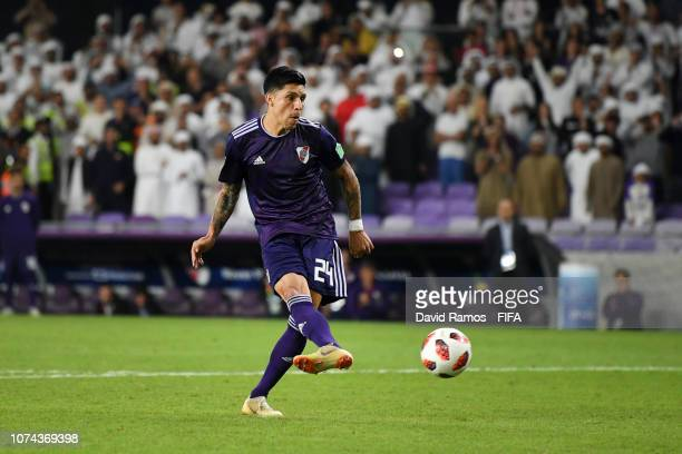 Enzo Perez of River Plate misses his team's fifth penalty in the penalty shoot out during the FIFA Club World Cup UAE 2018 Semi Final Match between...