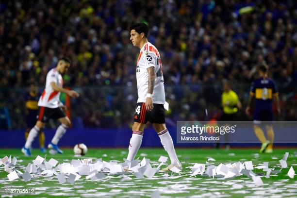 Enzo Perez of River Plate warms up pior the Semifinal second leg match between Boca Juniors and River Plate as part of Copa CONMEBOL Libertadores...