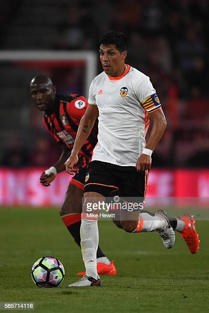Enzo Perez of Valencia in action during a preseason friendly between Bournemouth and Valencia at the Vitality Stadium on August 3 2016 in Bournemouth...
