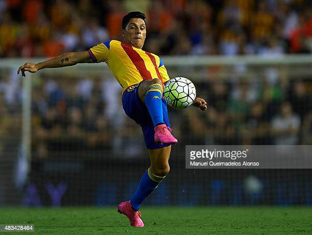 Enzo Perez of Valencia in action during the preseason friendly match between Valencia CF and AS Roma at Estadio Mestalla on August 8 2015 in Valencia...