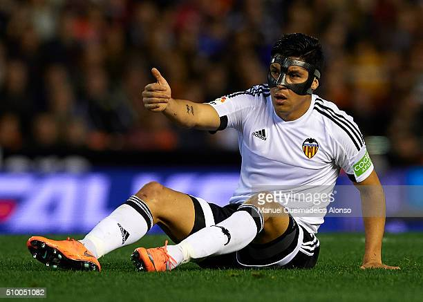 Enzo Perez of Valencia reacts on the pitch during the La Liga match between Valencia CF and RCD Espanyol at Estadi de Mestalla on February 13 2016 in...