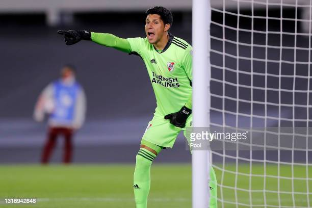 Enzo Pérez goalkeeper of River Plate gestures during a match between River Plate and Independiente Santa Fe as part of Group D of Copa CONMEBOL...