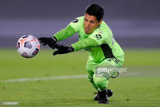 Enzo Pérez goalkeeper of River Plate makes a save during a match between River Plate and Independiente Santa Fe as part of Group D of Copa CONMEBOL...