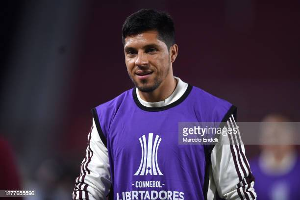 Enzo Pérez of River Plate looks on as warming up before a Copa CONMEBOL Libertadores 2020 group D match between River Plate and Sao Paulo at Estadio...