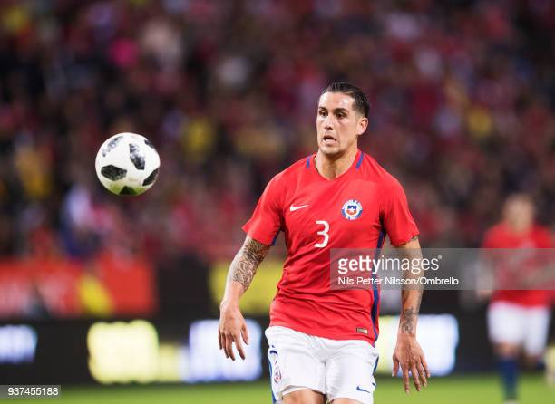 Enzo Roco of Chile during the International Friendly match between Sweden and Chile at Friends arena on March 24 2018 in Solna Sweden