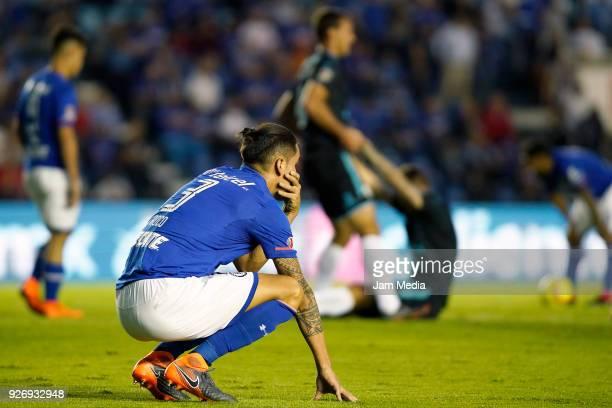 Enzo Roco of Cruz Azul reacts during the 10th round match between Cruz Azul and Queretaro as part of the Torneo Clausura 2018 Liga MX at Azul Stadium...