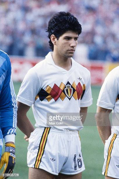 Enzo Scifo during the Football European Championship between Denmark and Belgium at Stade La Meinau Strasbourg France on 19 June 1984