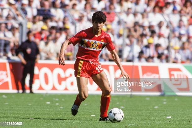 Enzo Scifo of Belgium during the European Championship match between France and Belgium at Stade de la Beaujoire, Nantes, France on 16th June 1984