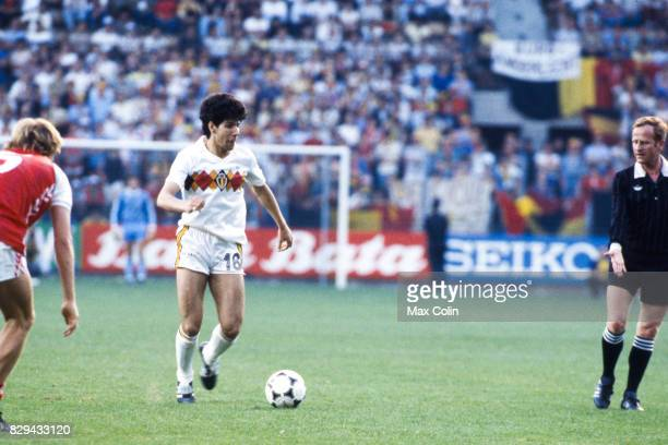 Enzo Scifo of Belgium during the European Championship match between Denmark and Belgium at La Meinau Strasbourg France on 19th June 1984