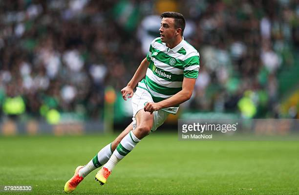 Eoghan O'Connell of Celtic turns to celebrate after he scores during the Pre Seanon Friendly match between Cetlic and Leicester City at Celtic Park...