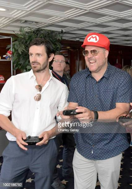 Eoin Macken and Jeff Buhler test their skills on Super Smash Bros Ultimate for Nintendo Switch at the Variety Studio at ComicCon 2018 on July 19 2018...