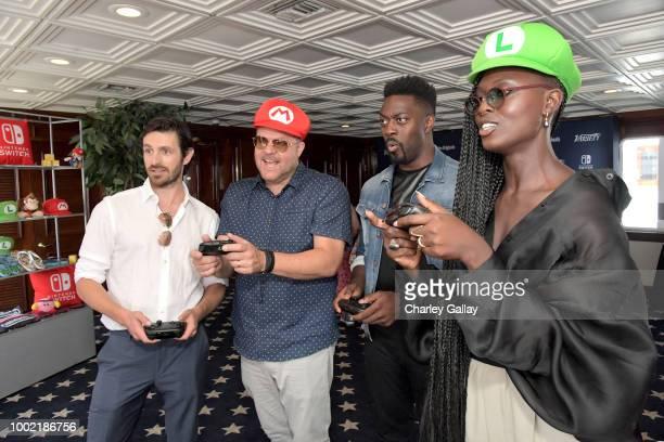Eoin Macken Jeff Buhler David Ajala and Jodie TurnerSmithtest their skills on Super Smash Bros Ultimate for Nintendo Switch at the Variety Studio at...