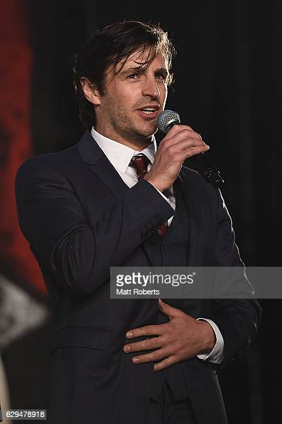 Eoin Macken speaks on stage at the world premiere of 'Resident Evil The Final Chapter' at the Roppongi Hills on December 13 2016 in Tokyo Japan