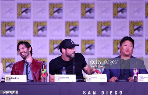 Eoin Macken Tom Ellis and Benedict Wong attend Entertainment Weekly Brave Warriors panel during San Diego ComicCon 2018 at the San Diego Convention...