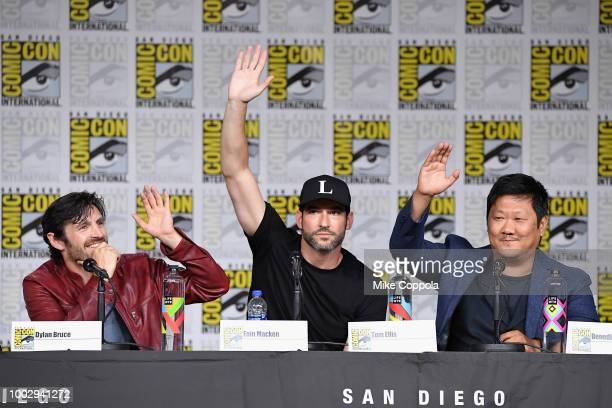 Eoin Macken Tom Ellis and Benedict Wong speak onstage at Entertainment Weekly's Brave Warriors Panel during ComicCon International 2018 at San Diego...