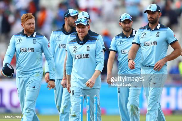 Eoin Morgan alongside Jonny Bairstow and Liam Plunkett following his side's 31 run victory during the Group Stage match of the ICC Cricket World Cup...