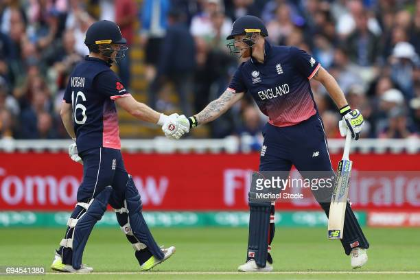 Eoin Morgan and Ben Stokes of England during the fourth wicket stand during the ICC Champions Trophy match between England and Australia at Edgbaston...