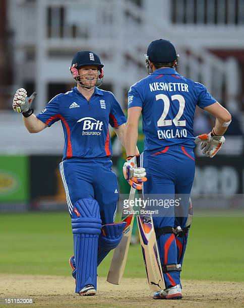 Eoin Morgan and Craig Kieswetter of England celebrate at the end of the 4th NatWest Series ODI match between England and South Africa at Lord's...