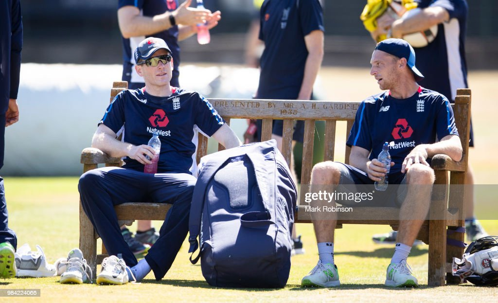 Eoin Morgan and Jos Buttler of England during a nets session at Edgbaston on June 26, 2018 in Birmingham, England.