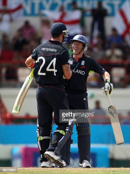 Eoin Morgan and Kevin Pietersen of England celebrate at the end of the semi final of the ICC World Twenty20 between England and Sri Lanka at the...