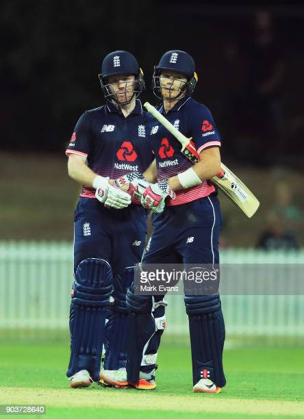 Eoin Morgan and Sam Billings of England after Morgan hit the winning runs during the One Day Tour Match between the Cricket Australia XI and England...
