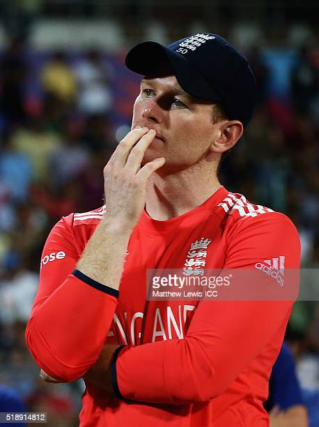 Eoin Morgan Captain of England looks on after his teams defeat to West Indies during the ICC World Twenty20 India 2016 Final between England and West...