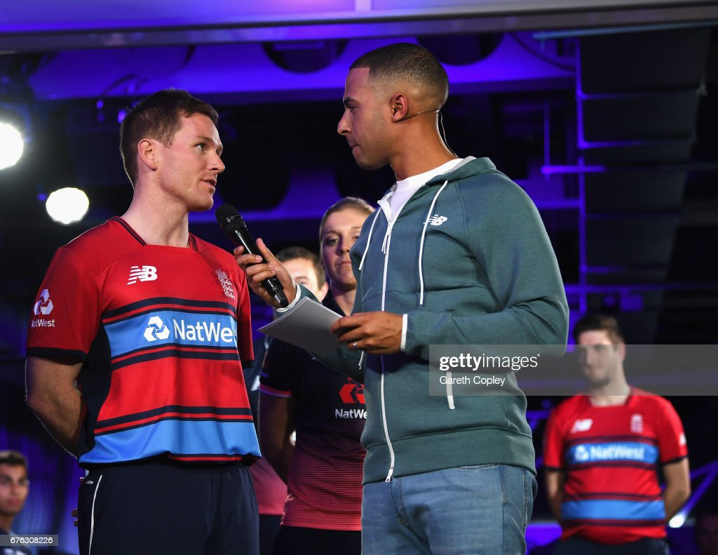 Eoin Morgan, England One day and Twenty20 captain talks with TV presenter and Radio DJ Marvin Humes during the New Balance England Cricket Kit Launch at the New Balance store, Oxford Street on May 2, 2017 in London, England.