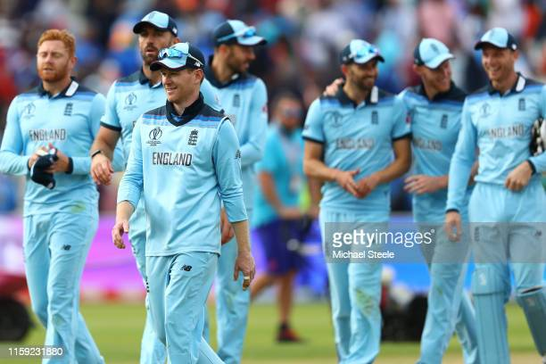 Eoin Morgan leads his players from the field of play following his side's 31 run victory during the Group Stage match of the ICC Cricket World Cup...