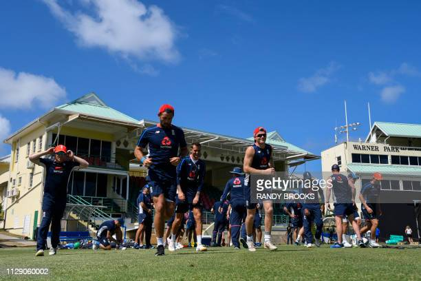 Eoin Morgan Liam Plunkett Alex Hales and Sam Billings of England run during a training day ahead of the 2nd T20 between the West Indies and England...