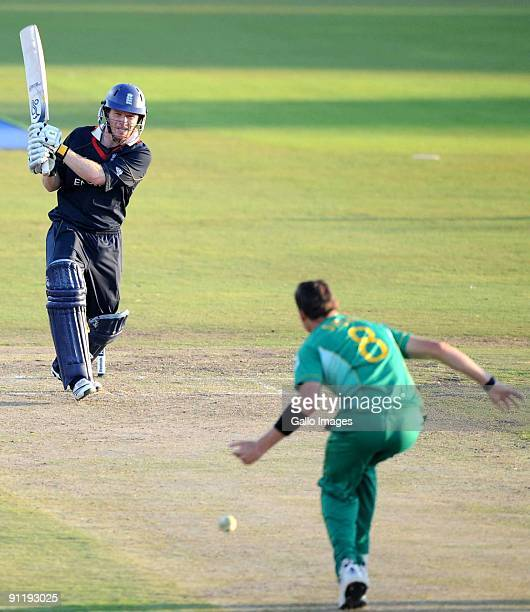 Eoin Morgan of England and Dale Steyn of South Africa during The ICC Champions Trophy match between South Africa and England on September 27 2009 at...