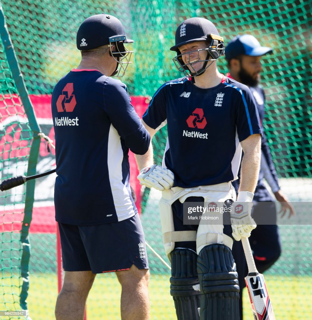 Eoin Morgan of England and head coach Paul Farbrace during a nets session at Edgbaston on June 26, 2018 in Birmingham, England.