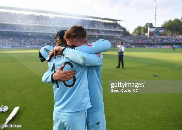 Eoin Morgan of England and Jason Roy of England celebrate after winning the Cricket World Cup during the Final of the ICC Cricket World Cup 2019...