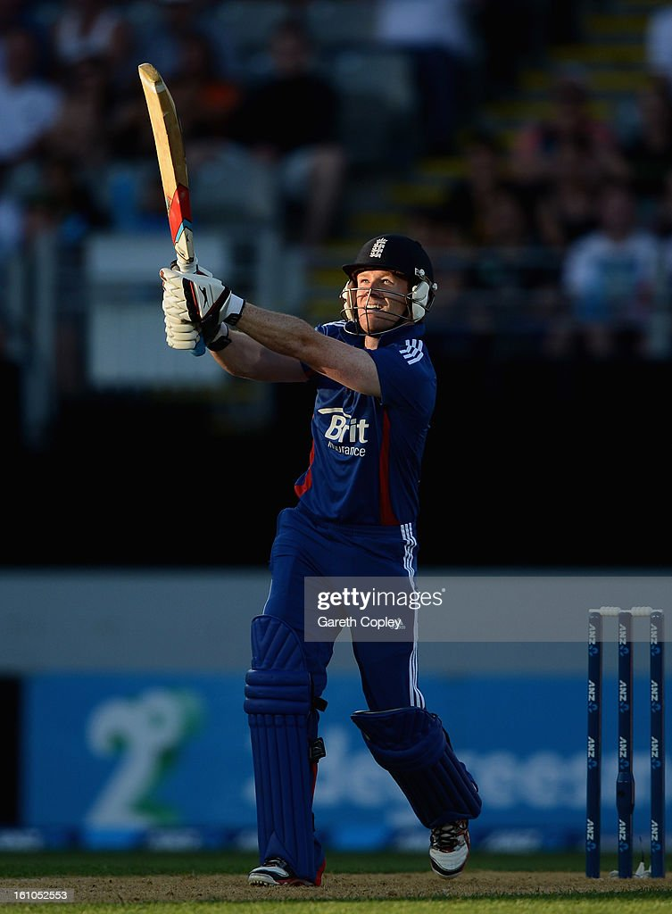 Eoin Morgan of England bats during the 1st T20 International between New Zealand and England at Eden Park on February 9, 2013 in Auckland, New Zealand.