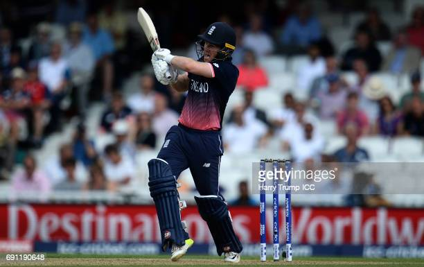 Eoin Morgan of England bats during the ICC Champions Trophy match between England and Bangladesh at The Kia Oval on June 1 2017 in London England