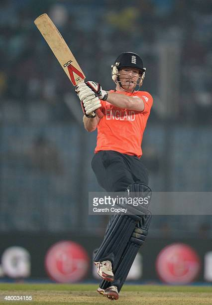 Eoin Morgan of England bats during the ICC World Twenty20 Bangladesh 2014 group 1 match between England and New Zealand at Zahur Ahmed Chowdhury...